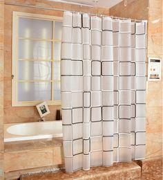 PEVA Fabric Shower Curtain Black White Plaid Waterproof Mould Proof Bathroom Curtains Cortinas Cortina Ducha