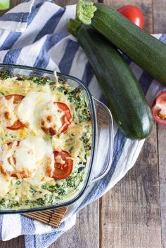 Coursagne met zalm en spinazie. Coursagne is een heerlijke lasagne, maar dan van courgette!