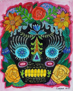 """My coloring of """"Day of the Dead"""" book by Sarah Walsh Hand Made Greeting Cards, Making Greeting Cards, Sugar Skull Art, Day Of The Dead, Coloring Books, Pattern, Handmade, Day Of Dead, Vintage Coloring Books"""