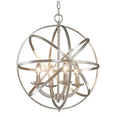 Brighten your home with this stunning chandelier from Z-Lite. The chandelier holds four incandescent bulbs that cast their light through circular metal bands. The orb-shaped design and brushed nickel