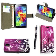 GSDSTYLEYOURMOBILE {TM} Samsung Galaxy S5 mini (SM-G800) PRINTED PU LEDER FLIP CASE COVER HÜLLE ETUI TASCHE Schutzhülle + STYLUS (Purple Butterfly Book)