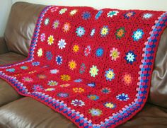 Brilliant Red Crochet Blanket Peony Red Granny by Thesunroomuk