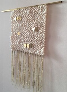 Silver & Gold Cream Woven Wall Hanging Weaving