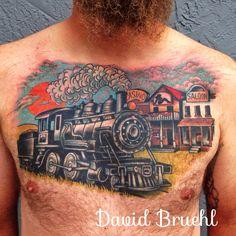Traditional western Man's Ruin Train tattoo by David Bruehl at in… Sleeve Tattoos, Rib Tattoos, Color Tattoos, Train Tattoo, Western Tattoos, Chest Tattoo, Tattoo Designs, Tattoo Ideas, Tattoo Inspiration