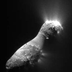 A closeup of the comet Hartley 2, visited by the EPOXI spacecraft in 2010. You can see several vents along the middle and end of the comet nucleus. 	Image credit: NASA/JPL-Caltech/UMD