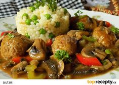 Masové koule na žampionech recept - TopRecepty.cz Meatball Recipes, Pork Recipes, Cooking Recipes, Czech Recipes, Ethnic Recipes, Mince Meat, Kung Pao Chicken, A Table, Food And Drink