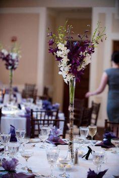 tall elegant purple and white wedding centerpieces