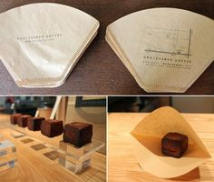 Omotesando Koffee using coffee filters as packaging PD Bakery Packaging, Food Packaging Design, Coffee Packaging, Brand Packaging, Gift Packaging, Branding Design, Bottle Packaging, Packaging Ideas, Cafe Design