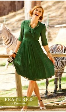 Animalia- Pleated 40s inspired dress $95.00 http://www.vintagedancer.com/1940s/1940s-womens-clothes/