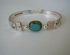 Silver Spoon Bracelet Picasso Turquoise Silverware Jewelry