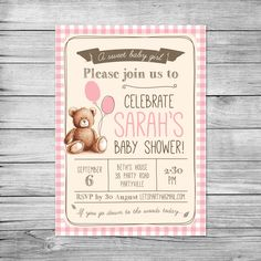 Baby Shower Invitation // Gingham Teddy Bears Picnic // Baby girl // DIY printable file // Girl baby shower invites // Shabby chic by PixelpopShop on Etsy