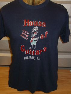 vintage 1980s House of Guitars 50/50 THIN t shirt punk retro Navy Blue by vintagerhino247 on Etsy
