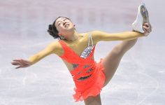 Former women's world champion Mao Asada of Japan performs during a practice session for the World Team Trophy figure skating competition in Tokyo on April 11, 2013.