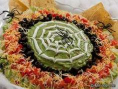 Need some eerie eats for your Halloween bash? Get tangled up in our creepy-crawly Spiderweb Spread by dipping and dunking your favorite chips into this zesty south-of-the-border party spread that guarantees a web of excitement in every bite. Halloween Dinner, Halloween Food For Party, Holidays Halloween, Halloween Treats, Halloween Foods, Happy Halloween, Halloween Appetizers, Halloween Spider, Halloween Stuff