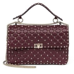 Valentino Rockstud Large Quilted Leather & Chain Top-Handle Bag ($3,195) ❤ liked on Polyvore featuring bags, handbags, handbags - valentino handbags, wine, studded purse, quilted leather purse, circle purse, chain strap handbag and circle handbags