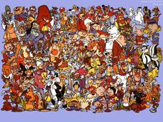 All the Warner Bros. cartoon stars on a picture from early 1990's