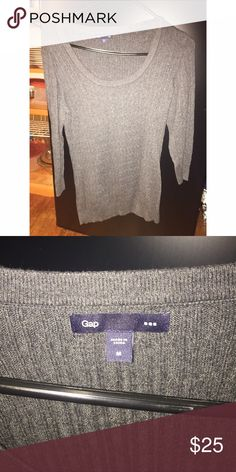 Gray Gap sweater Gray Gap 3/4 sleeve sweater GAP Sweaters Crew & Scoop Necks