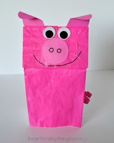 Paper Bag Pig Kids Craft We are in love with paper bag puppets lately. They are just so much fun, we can't help ourselves! So far this spring we've made a frog, duck, butterfly and bee and today we are Farm Animal Crafts, Pig Crafts, Easy Crafts, Farm Animals, Preschool Christmas Crafts, Preschool Crafts, Toddler Crafts, Crafts For Kids, Toddler Activities