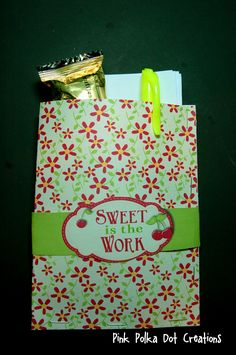 "Pink Polka Dot Creations:   Visiting Teaching Handout- May 2013  ""Sweet is the Work""  pocket with wrapper.  Free Printable"