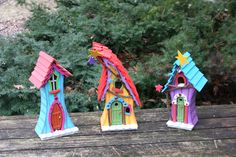 New set of 3 fairy houses. Picked up on ebay. Great colors!