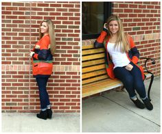 This orange, green, and blue cardigan is perfect for fall weather!