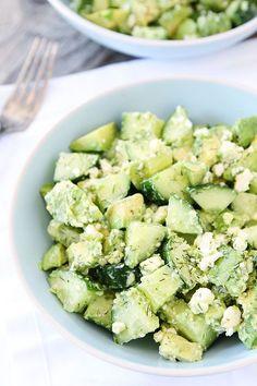 Cucumber, Avocado, and Feta Salad Recipe on twopeasandtheirpo.... / #lowcarb shared on https://facebook.com/lowcarbzen