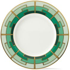Horchow Emerald Dessert Plate (63 AUD) ❤ liked on Polyvore featuring home, kitchen & dining, dinnerware, art deco dinnerware and colored dinnerware