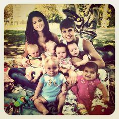 Justin Bieber, Selena Gomez and Six Babies Pose like Brangelina
