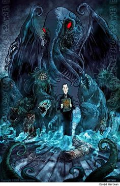 Cthulhu / H.P Lovecraft Hp Lovecraft, Lovecraft Cthulhu, Cthulhu Art, Arte Horror, Horror Art, Call Of Cthulhu, Dark Fantasy, Fantasy Art, Necronomicon Lovecraft