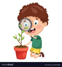 Kid with magnifier Royalty Free Vector Image - VectorStock