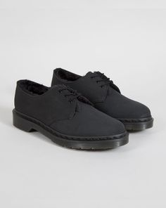 a0f7d88c9ef9 Dr Martens 1461 Black Furry Shoe Lazy Oaf