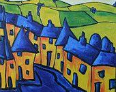 "Landscape Painting Artwork, Original Landscape Oil Painting, Impressionism, Original Abstract Oil Painting Canvas 20""x20"" by Simon Bramble"
