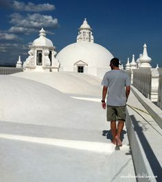 Walking along the Roof of a church in Leon, Nicaragua