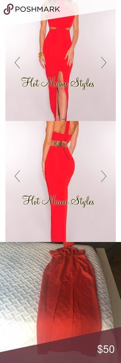 Sexy red dress (WORN ONCE) Sexy (and comfty!) red dress with open back and side cutouts! hotmiamistyles Dresses Backless