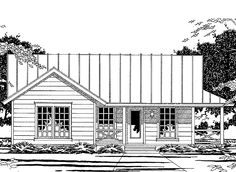 Country House Plan with 1094 Square Feet and 3 Bedrooms(s) from Dream Home Source | House Plan Code DHSW36867