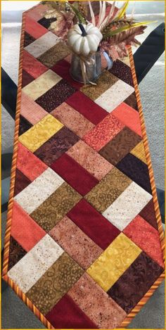 Fall Table Runner, Quilted Table Runner, Narrow Table Runner, 11 x 39 - quilt patterns Patchwork Table Runner, Table Runner And Placemats, Crochet Table Runner, Fall Table Runner, Quilted Table Runner Patterns, Quilted Table Runners Christmas, Quilt Block Patterns, Pattern Blocks, Quilt Blocks