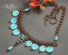 Turquoise Howlite Egyptian Coil Pendant Copper by MelekDesigns, $39.00