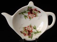 british teapot teabag holder | Teapot Shape Tea Bag Caddy Royal Patrician Sweet Pea