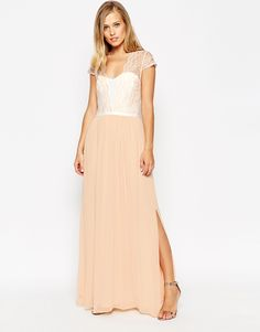 ASOS Scalloped Lace Maxi Dress. $103 in nude. Too long?