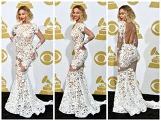 Grammy Style 2014; Beyonce looks fabulous in this white lace dress by: Michael Costello