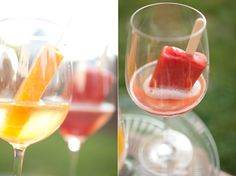 Popsicle and champagne cocktails. Perfect for a summer party.