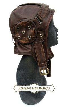 Etsy の aviator hat flight cap tank girl leather by Renegadeicon Tank Girl, Aviator Hat, Neo Victorian, Helmet Design, Motorcycle Outfit, Steampunk Clothing, Distressed Leather, Dieselpunk, Headgear