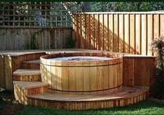 whirlpool im garten Western Red Cedar Hot Tub Luxury Spa Life Hot Tub Garden, Hot Tub Backyard, Backyard Pools, Pool Decks, Pool Landscaping, Whirlpool Deck, Hot Tub Surround, Round Hot Tub, Piscine Diy