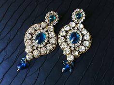 Large Crystal teal Blue Chandelier Earrings by taneesijewelry, $66.00