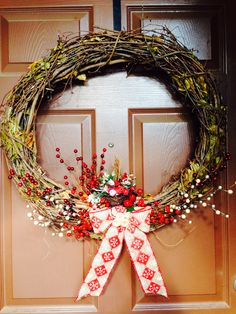 Holiday Wreath. #holiday #wreath #bows #decor #burlap #youcanbuyme #berries #craftybitch #brffco