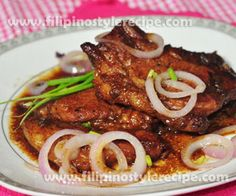 Pork chops steak or bistek is another mouth watering Filipino dish inspired to western beef steak. Pork chop steak or bistek is another variety of pinoy bistek tagalog. Pork chops should marinated the (Paleo Pork Steak) Pork Steak Filipino Recipe, Pork Chop Steak Recipe, Chopped Steak Recipes, Easy Filipino Recipes, Marinated Pork Chops, Beef Steak Recipes, Filipino Dishes, Meat Recipes, Filipino Food