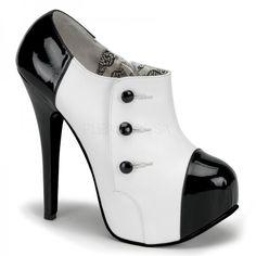 TEEZE-20, Ankle Plateau Pumps weiß/schwarz Lack BORDELLO - Burlesque Schuhe