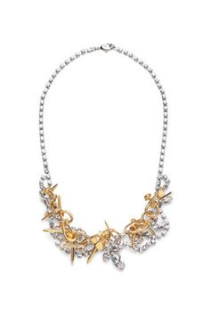 Tom Binns Voila Crystal Statement Necklace With Twisted Nails