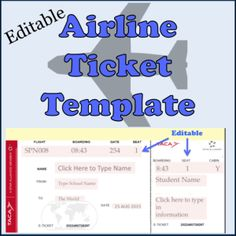 Editable Airline Ticket Template for students. Give each student a ticket with your class information. Great for classroom travel theme.