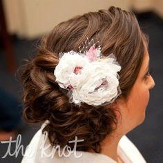 Fabric-Flower Hairpiece  Sarah wore a custom-made fabric-flower hairpiece.